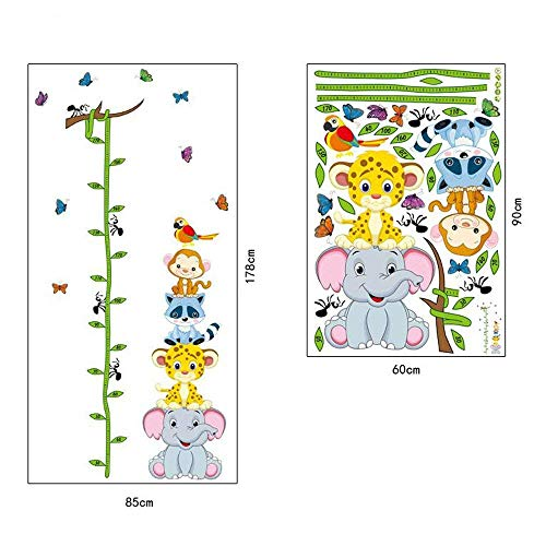 Bien-Zs Baby Height Growth Chart Tree Cute Monkey Ruler Measurement Wall Stickers Removable Wall Decor for Kids Bedroom Nursery, 70''x33'' by Bien-Zs