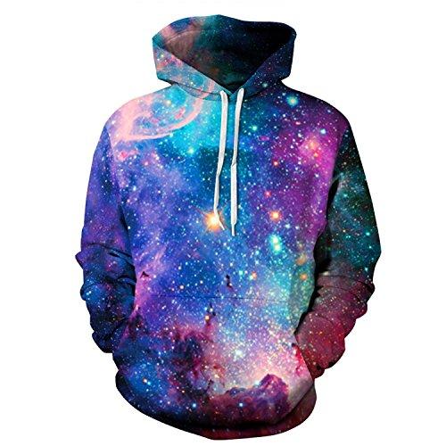 Century Star Unisex 3d Digital Print Big Pockets Pullover Hoodie Sweatshirt B Blue L/XL
