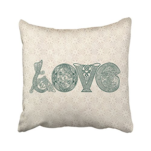 Kutita 16 x 16 inch Throw Pillow Covers,Celtic Knot Love St Patricks Day Irish Pattern Double-sided Sofa Cushion Cover Couch Bed Pillowcase Home Gift Decorative Hidden Zipper Design Cotton Polyester