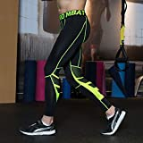 UrChoiceLtd GYM QX Mens Running SPORTS Pants Mens Compression Wear Workout Clothes Quick Dry Breathable Comfortable Leggings Base Elite Fitness Thermal Wow (XL, Green)