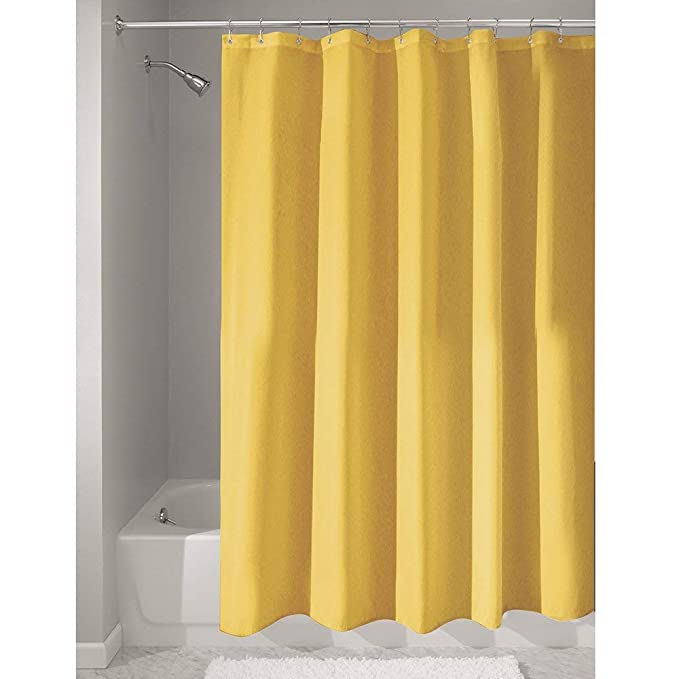 InterDesign Poly Bath Curtains Long Shower Curtain Made Of Polyester Yellow Amazoncouk Kitchen Home
