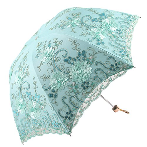 Honeystore Vintage Lace UV Sun Parasol Folding 3D Flower Embroidery Umbrella H1620 Blue (Umbrella Centerpieces Table)