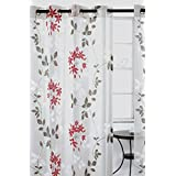 Dreamscape Sheer Leaf Burnout Grommet Curtain Panels (Set of 2)  52x95-in, White/Grey/Red