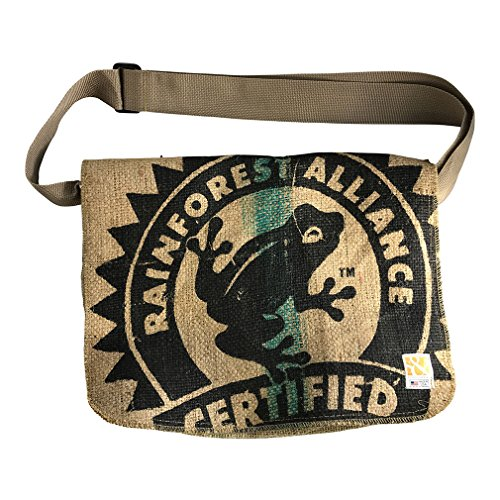 Sack Cloth and Ashes Eco-Friendly, Upcycled Coffee Bean Burlap Crossbody/Messenger Bag with Adjustable Webbed Handles, Frog - Fully Lined Bag Cotton Shoulder