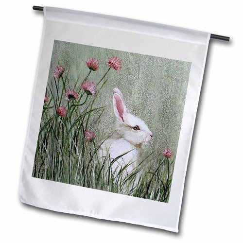 3dRose fl_44349_1 Side View Bunny Rabbit in Tall Grass Pink Wildflowers Garden Flag, 12 18