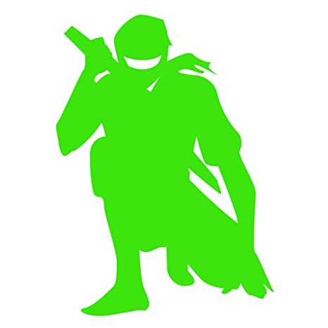 Auto Vynamics - NINJA-CHAR02-3-GLGRN - Gloss Lime Green Vinyl Ninja Warrior Silhouette Decal - Crouched/Crouching 01 Design - 2.125-by3-inches - (1) ...