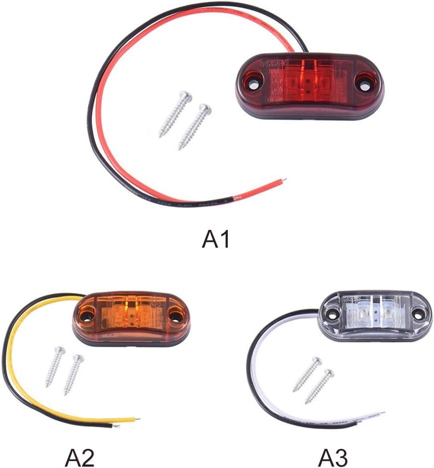 2 luces LED laterales para camiones color rojo Asdomo luz de se/ñalizaci/ón lateral para remolque