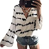 WILLTOO Clearance Women Long Sleeve Printed Tops Blouse (XL, White)