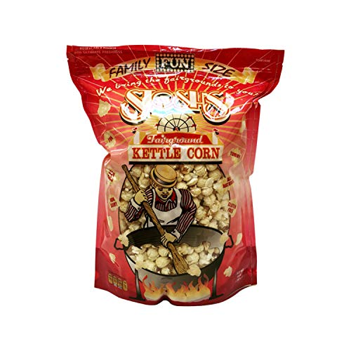 All Natural Kettle Corn - Gourmet Handmade Sweet & Salty Kettle Corn Popcorn with Resealable Bag (14oz 1 Bag)