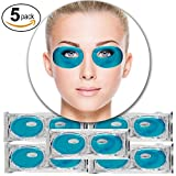 Cleansing Crystals Before Use - Set Kit of 5 Pairs Blue Marine Algae Seeweed Collagen Gel Crystal Masks Eyelids Patches Eyes Pads for Intense Moisturizing Hydrating, Wrinkles Crows Feet Removal, Whitening Melanin Pigment Reduction