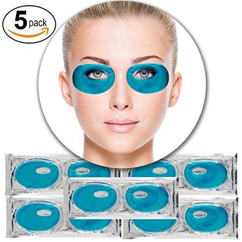 Set Kit of 5 Pairs Blue Marine Algae Seeweed Collagen Gel Crystal Masks Eyelids Patches Eyes Pads for Intense Moisturizing Hydrating, Wrinkles Crows Feet Removal, Whitening Melanin Pigment Reduction