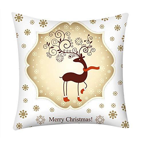 Seaintheson Christmas Pillow Covers 18 X 18 Inch, Reindeer Christmas Lights Santa Claus Print Pillowcase Polyester Sofa Car Cushion Cover Home Decor