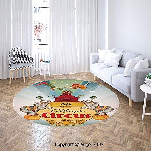 - AngelDOU Bedroom Chair Rugs Non-Slip Door Round Mat Magic Circus Tent Show Announcement Vintage Style Aerialist Acrobat Toilet Bath Decorate Carpets.