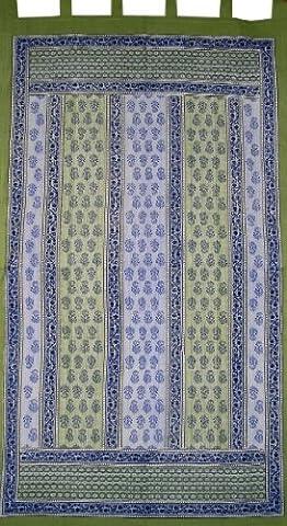 Floral Stripe Tab Top Curtain Drape Panel Cotton 44