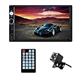 Hikity 7 inch HD Car Stereo Player 1080P Touch Screen Monitor Multimedia Display Receiver Bluetooth Handsfree Call with USB Port / Aux Input / Power Charger Gift Rear View Camera