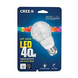 Cree BA19-04527OMN-12DE26-2U110 TW Series 40W Equivalent A19 LED Light Bulb, 2700K, Soft White (6-Pack)
