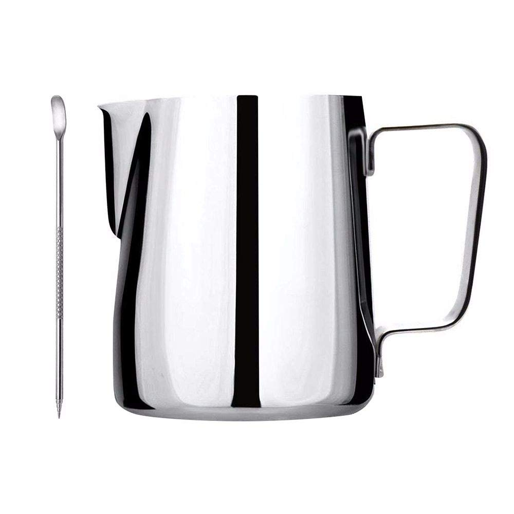 Tong Yue Metal Stainless Steel Pitcher Cup Barista Milk Frothing Jug Mug Cup Coffee Latte Pitcher Barista Craft Jug with Stainless Steel Latte Art Pen