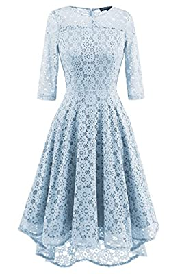 Wellwits Women's 3/4 Sleeves High Low Lace Illusion Vintage Swing Dress