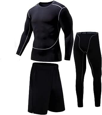Bsadne 3 Men's Fitness Suit, Sportswear, Bottom Shirts + Loose Shorts + Tight Pants for Running