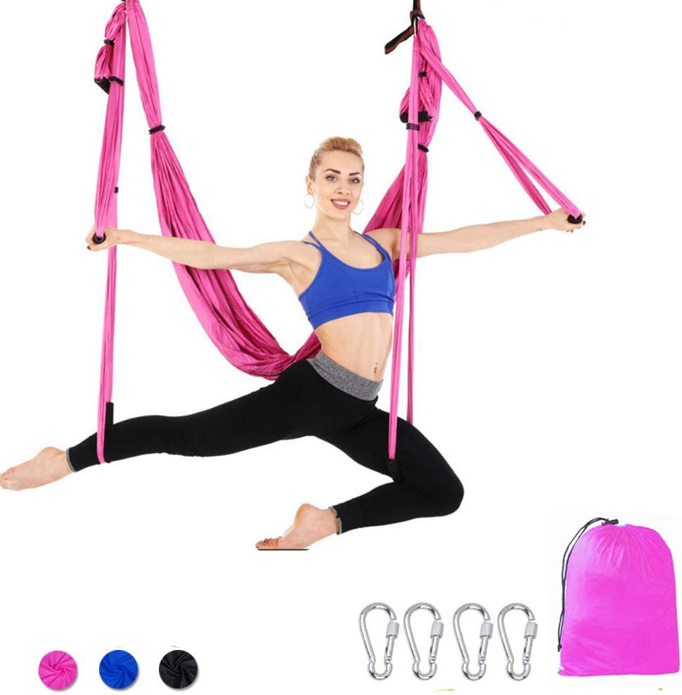 Amazon Com Aerial Yoga Hammock Ultra Strong Antigravity Yoga Swing Swing Chair Sling Trapeze Inversion Tool Set For Safe Hanging Flying Yoga Inversion Exercises Health Therapy Perfect Exercise Pink Toys Games