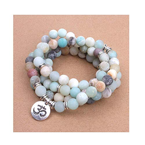 HOUBL Simple:Good Style Women's Bracelet Matte Frosted Amazonite Beads with Lotus Om Buddha Charm Yoga Bracelet Necklace,IF