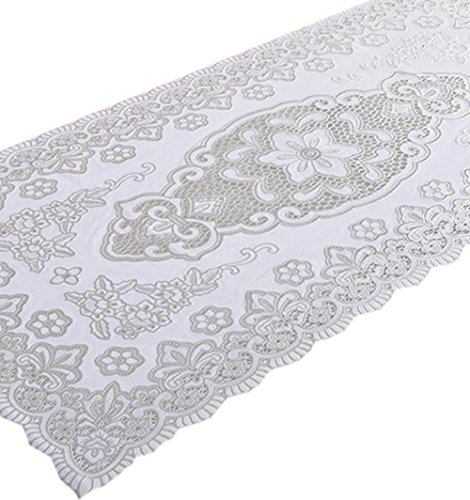 Fanjow PVC Gilding Tablecloth Hollow Carved Rectangular Round Crochet Tablecloth Floral Pattern Table Cover for Tea Table, Cabinet, TV (60cm100cm/23.62