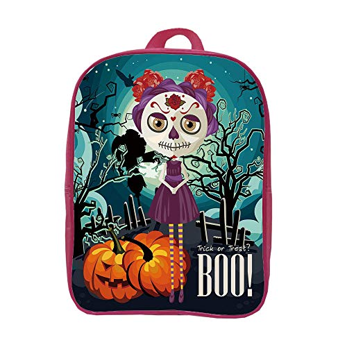 iPrint Children's Backpacks Schoolbag Strong Durability,Halloween,Cartoon Girl with Sugar Skull Makeup Retro Seasonal Artwork Swirled Trees Boo Decorative,Multicolor,Graph Customization Design.