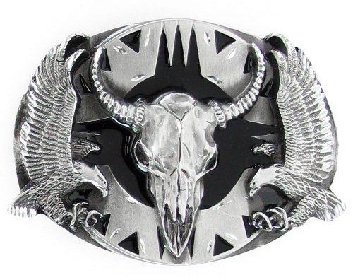 Diamond Skull Belts - Pewter Belt Buckle - Buffalo Skull with Eagles (Diamond Cut) - Western