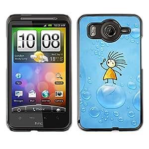 For HTC Desire HD / G10 / inspire 4GCase , Soap Blue Drawing Kids Children - Diseño Patrón Teléfono Caso Cubierta Case Bumper Duro Protección Case Cover Funda