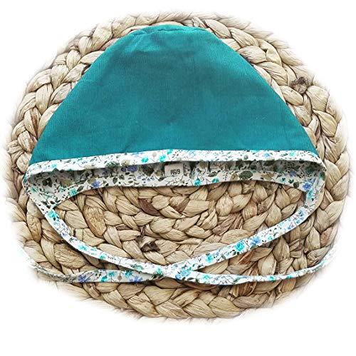Baby Bonnet Hat Reversible Dual Side Linen, Cotton Floral Combinations Evy Collection Bonnets (Blue Ipomoea Floral Cottons, 18-24mons)