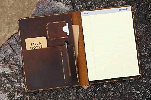 (Distressed Leather large legal pad A4 document portfolio writing case/vintage refillable leather organizer notebook cover case - NA4005S)