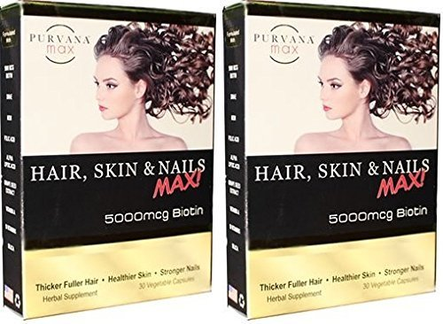 Purvana Max Hair, Skin and Nails Max 30 Veg. Caps. (2 Pack)