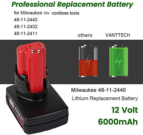 VANTTECH 12V 6000mAh Lithium Battery for Milwaukee 12-Volt Cordless Power Drill Tools XC 48-11-2440 48-11-2402 48-11-2410 48-11-2411 48-11-2420