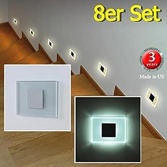 Juego de 8 SUN-LED focos lámpara de pared LED para escaleras, escalera, corridor, luz blanca