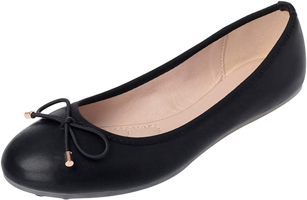 ANUFER Women Lovely Bow Tie Ballerinas Comfy Square Toe Ballet Flats Slippers Pumps Dolly Shoes