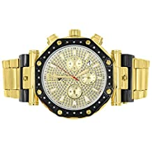 Octagon Face Aqua Master Watch Gold & Black 2 Tone Watch Genuine Diamond Stainless Steel Analog Display