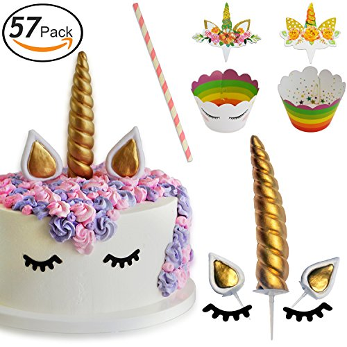Party Confetti Horn - Unicorn Party Supplies, Unicorn Cupcake Toppers + Wrappers Doubled Sided + Cake Topper | Unicorn Horn Cake Decoration | Birthday Party Supplies, Kids Party, Baby Shower and Themed Party Set of 57