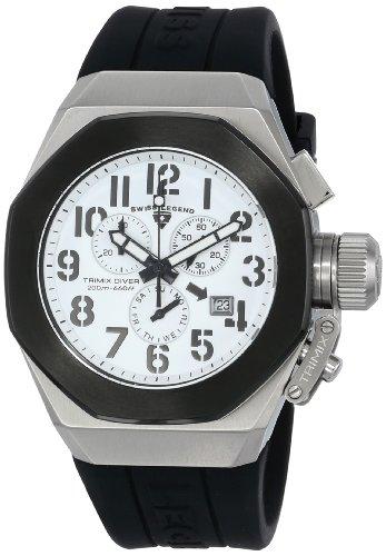 White Dial Black Silicone - Swiss Legend Men's 10542-02-BB Trimix Diver Chronograph White Dial Black Silicone Watch