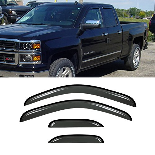 US Window Visor Rain Sun Vent Guard For Silverado//Sierra Extended Cab 07-13 FM