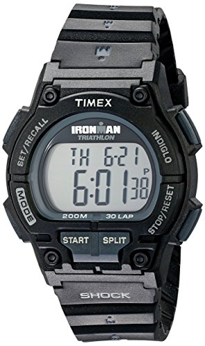 Timex Men's T5K196 Ironman Original 30 Shock Full-Size Black Resin Strap Watch (Black Strap Resin)