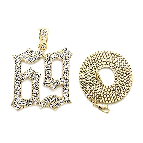 NYFASHION101 Large Stone Stud 69 Hip-Hop Pendant with 2mm 24 Box Chain Necklace, Gold-Tone