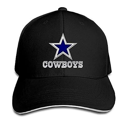 NUBIA Dallas Cowboy Sandwich Peak UV Protect Hat Flex Fit Cap Black