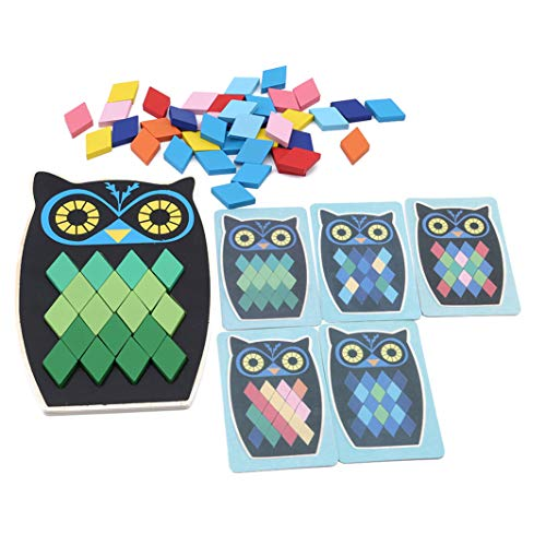YouCY Fish Owl Shape Puzzle Cartoon Animal Shape Puzzle Educational Wooden Toy Children Multifunctional Early Learning Wooden Puzzle,Owl