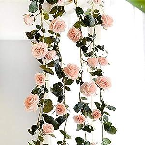 Lihin Christmas Indoor Decoration Artificial Rose 1.8M Garland Silk Flower Vine Home Wedding Garden Decoration(Pink) 92