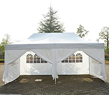 Outsunny Carpa 6x3m Plegable Sistema Acordeon Paneles Laterales Cortinas + Bolsa Transporte: Amazon.es: Hogar