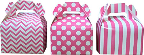 Outside the Box Papers Pink Chevron, Stripe and Polka Dot Paper Gable Boxes - Party Supply- Wedding Favor Box- 36 Count