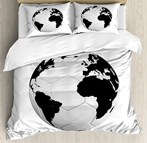 Sports Decor Queen Size Duvet Cover Set by Ambesonne, Soccer Ball with World Map Football Cup 2010 Entertaining Professional Game, Decorative 3 Piece Bedding Set with 2 Pillow Shams by Ambesonne