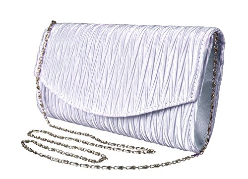 Peach Couture Womens Vintage Satin Pleated Envelope Evening Cocktail Wedding Party Handbag Clutch (Lilac) -