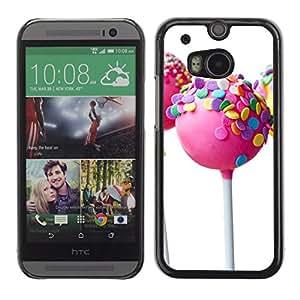 Paccase / SLIM PC / Aliminium Casa Carcasa Funda Case Cover para - Lollipop Candy White Sweet Pink - HTC One M8