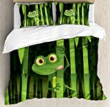 Ambesonne Animal Decor Duvet Cover Set, Funny Illustration of Friendly Fun Frog on Stem of The Bamboo Jungle Trees Cute Nature Print, 3 Piece Bedding Set with Pillow Shams, Queen/Full, Green